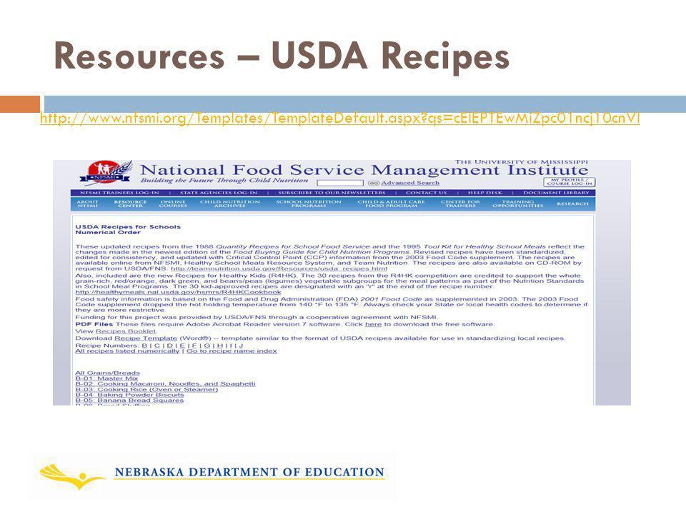 Resources – USDA Recipes