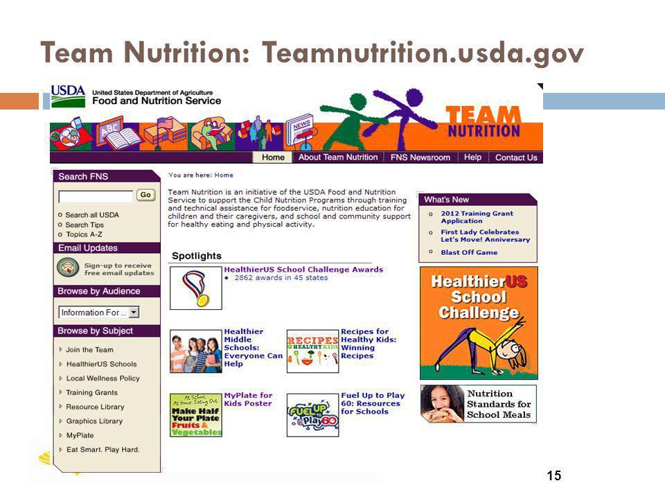 Team Nutrition: Teamnutrition.usda.gov