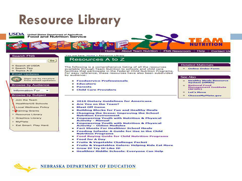Resource Library Inside the Team Nutrition website, a Resource Library is provided.