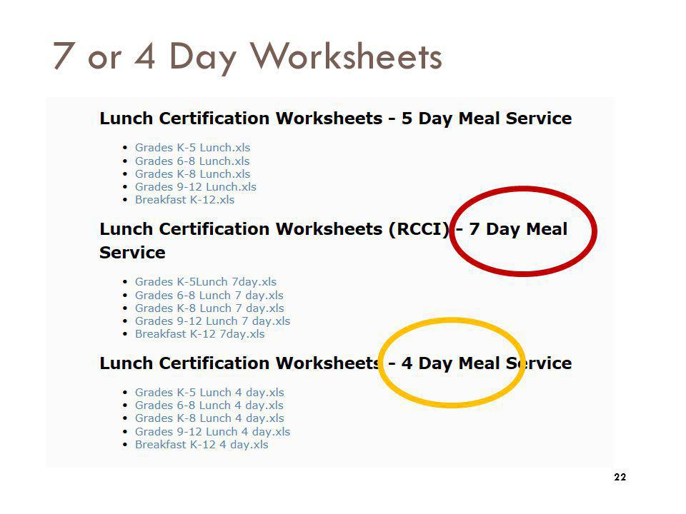 7 or 4 Day Worksheets Below the 5 day section are sections for