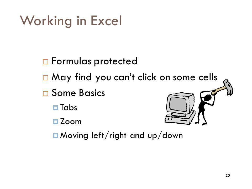 Working in Excel Formulas protected