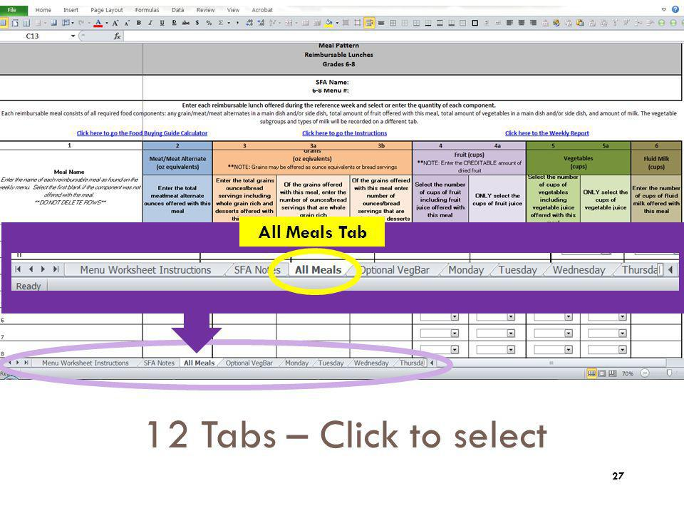 12 Tabs – Click to select Tips: Zoom All Meals Tab