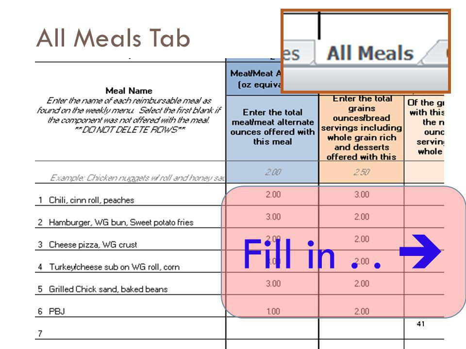 All Meals Tab Fill in . .  After you enter the entrée Meal Name, then continue working to the right across the row.