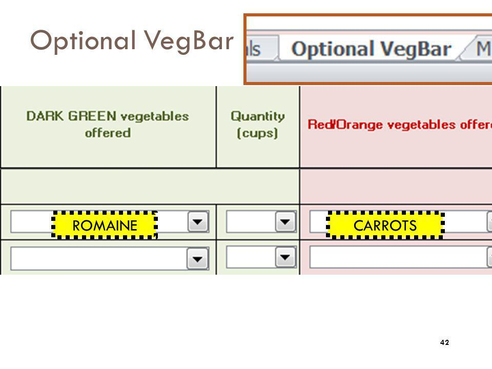 Optional VegBar ROMAINE CARROTS