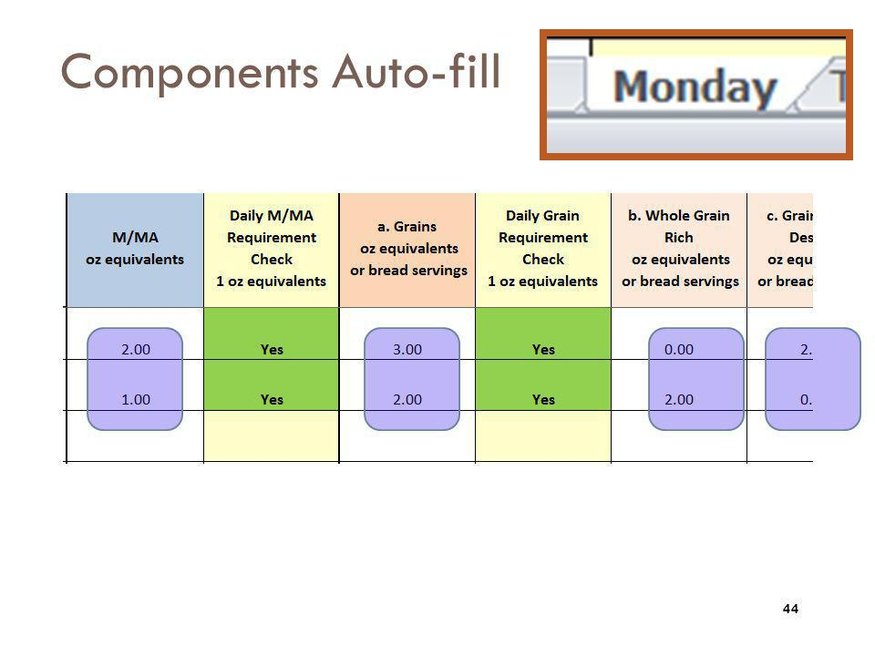 Components Auto-fill The component information for each entrée chosen will populate from the ALL MEALS tab.