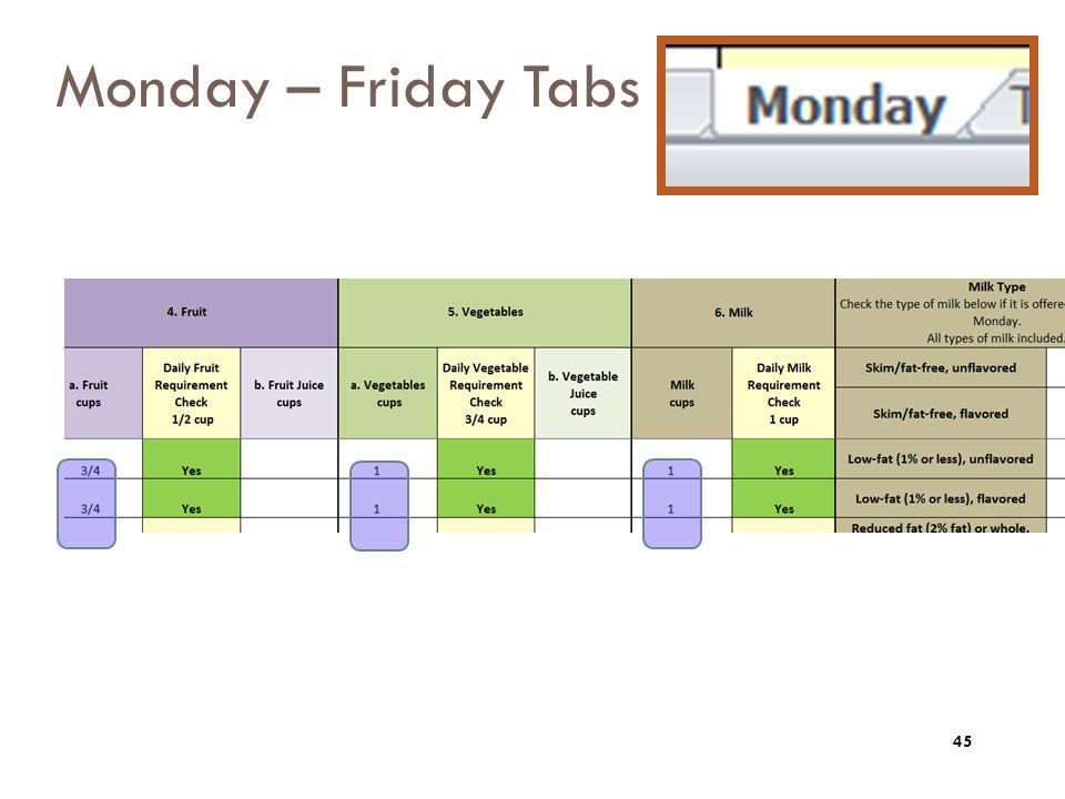 Monday – Friday Tabs Now we have to move over to the right to see the additional columns that have prefilled….