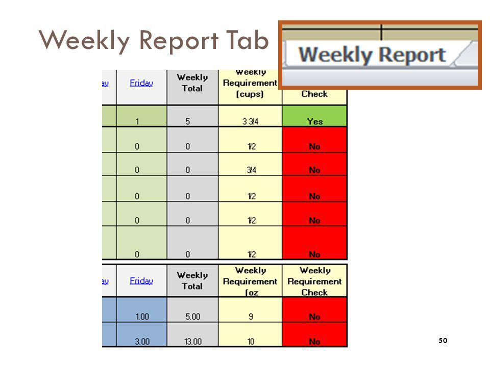 Weekly Report Tab The weekly report tab will summarize and review your menu.