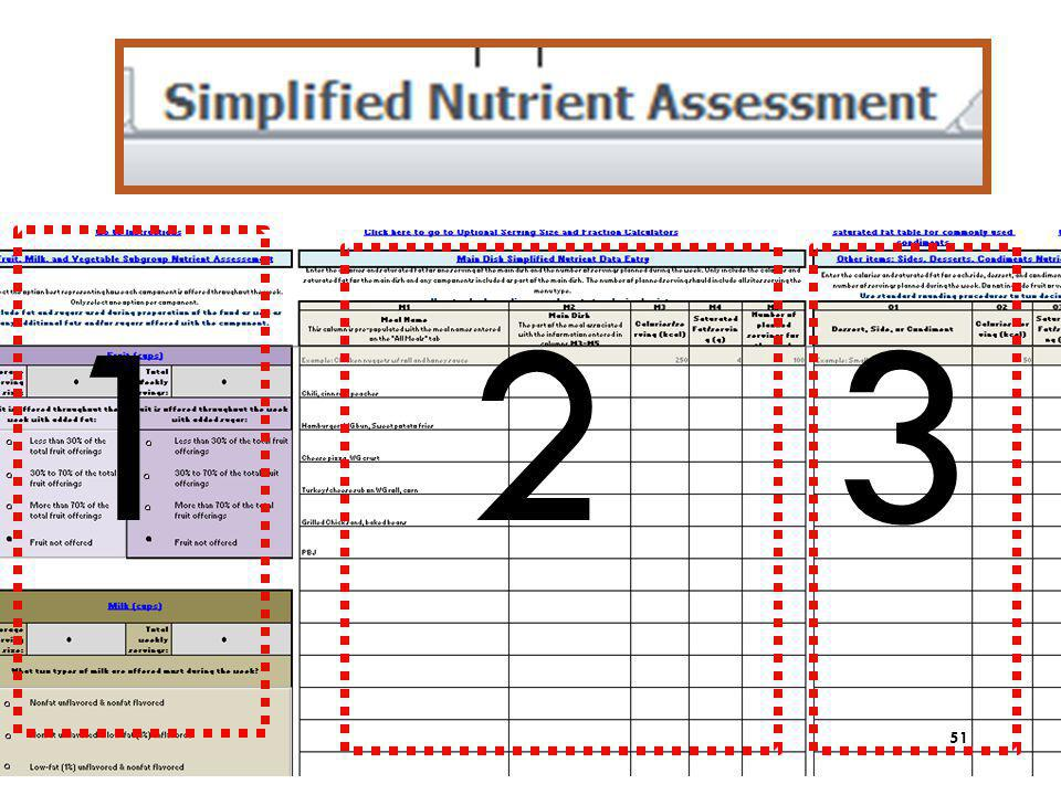 1 2 3 The last tab that requires entry is the Simplified Nutrient Assessment tab. It is divided into 3 sections.