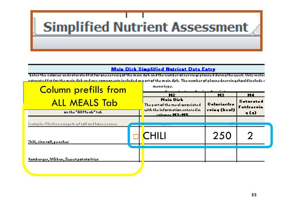 CHILI 250 2 Column prefills from ALL MEALS Tab