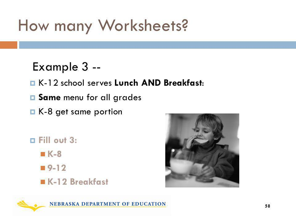 How many Worksheets Example 3 --