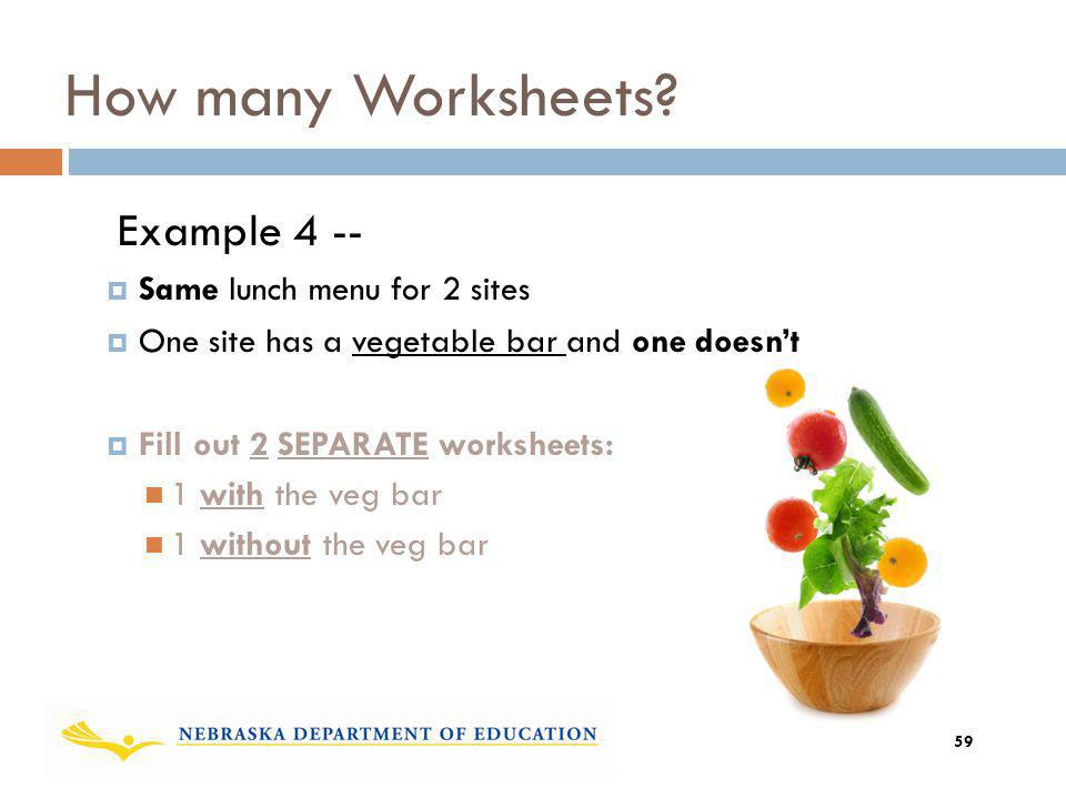 How many Worksheets Example 4 -- Same lunch menu for 2 sites