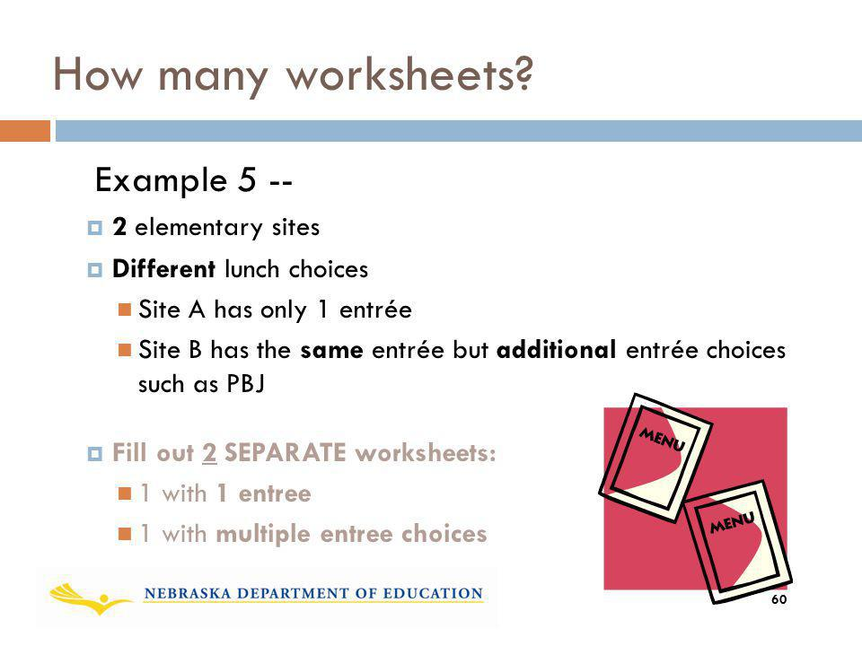How many worksheets Example 5 -- 2 elementary sites