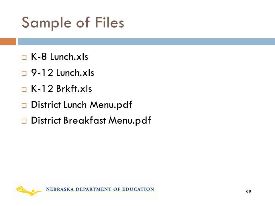 Sample of Files K-8 Lunch.xls 9-12 Lunch.xls K-12 Brkft.xls