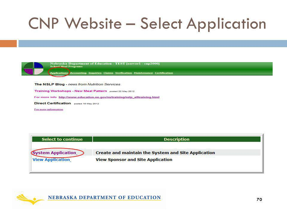 CNP Website – Select Application