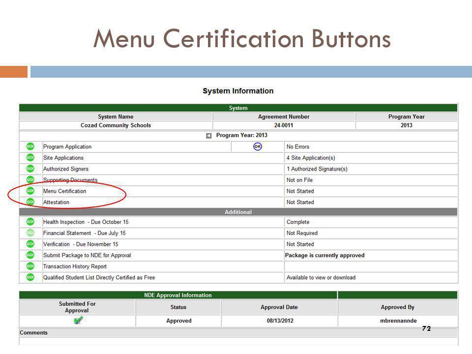 Menu Certification Buttons