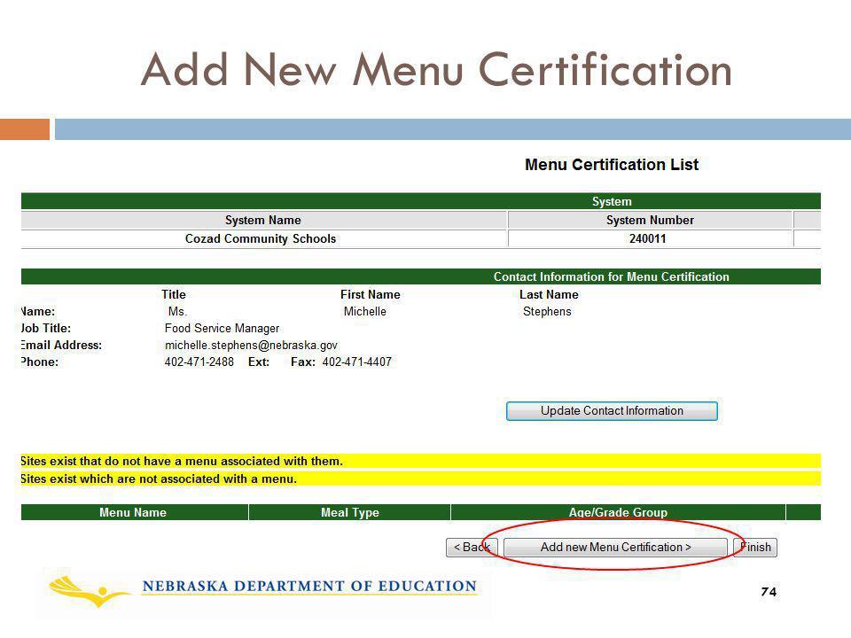 Add New Menu Certification