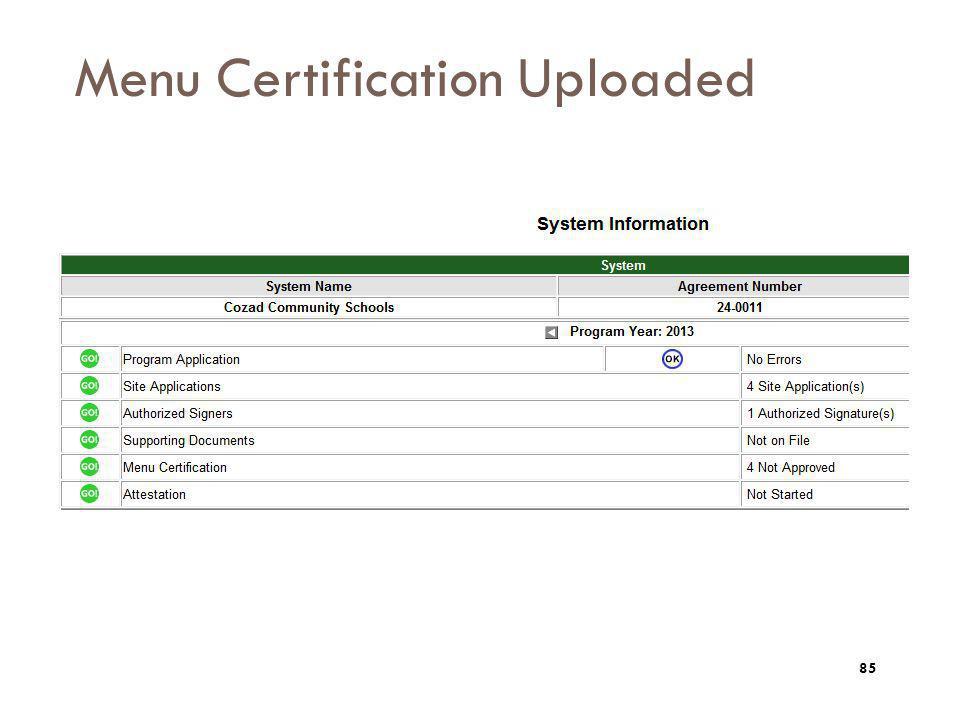 Menu Certification Uploaded