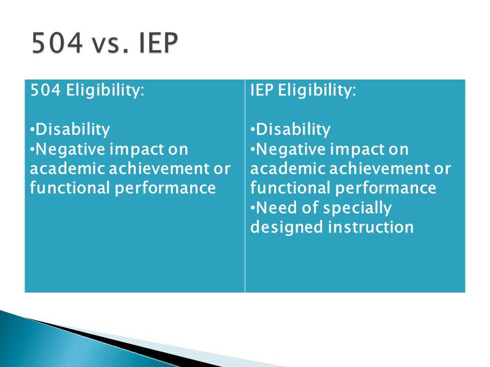504 vs. IEP 504 Eligibility: Disability