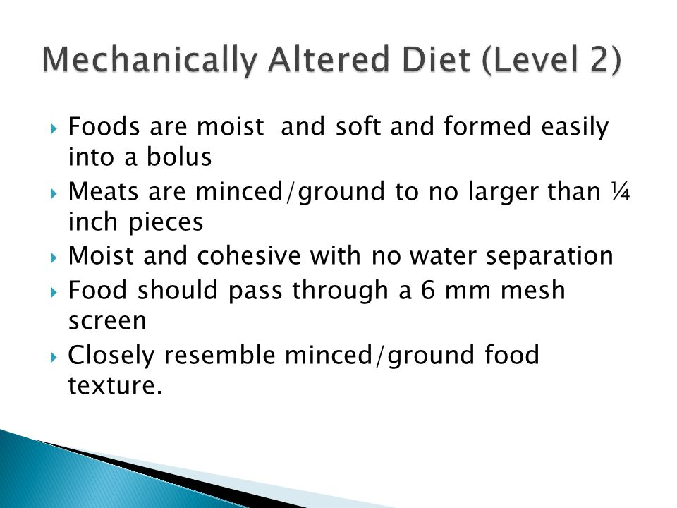 Mechanically Altered Diet (Level 2)