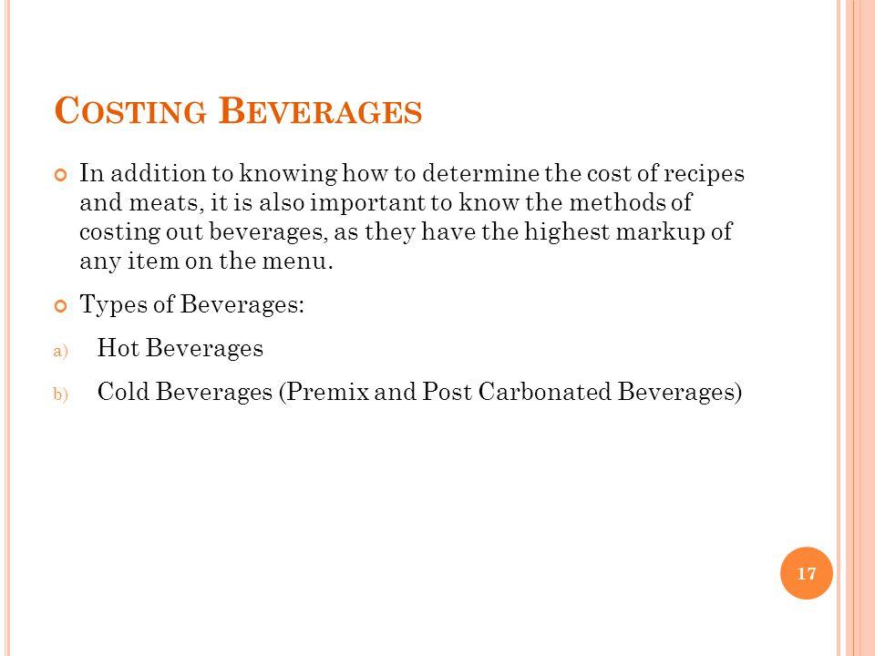 Costing Beverages