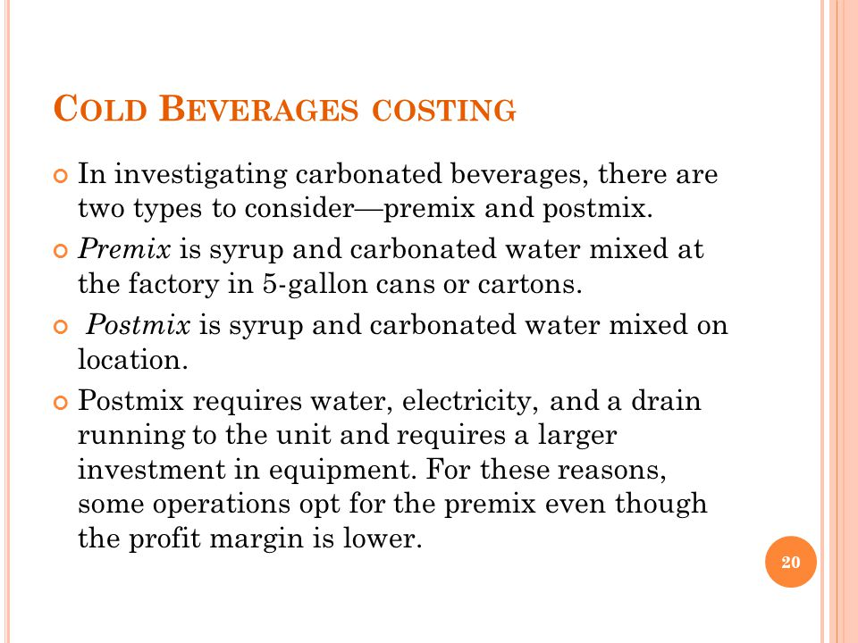 Cold Beverages costing