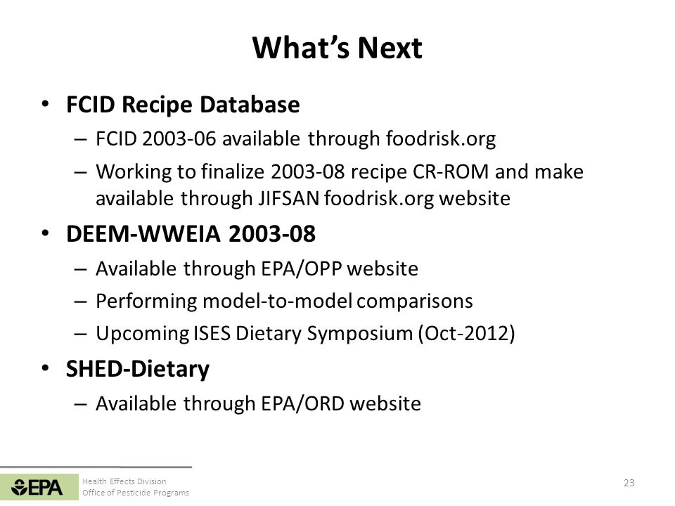 What's Next FCID Recipe Database DEEM-WWEIA 2003-08 SHED-Dietary