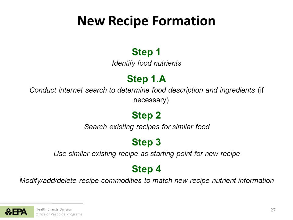 New Recipe Formation Step 1 Step 1.A Step 2 Step 3 Step 4