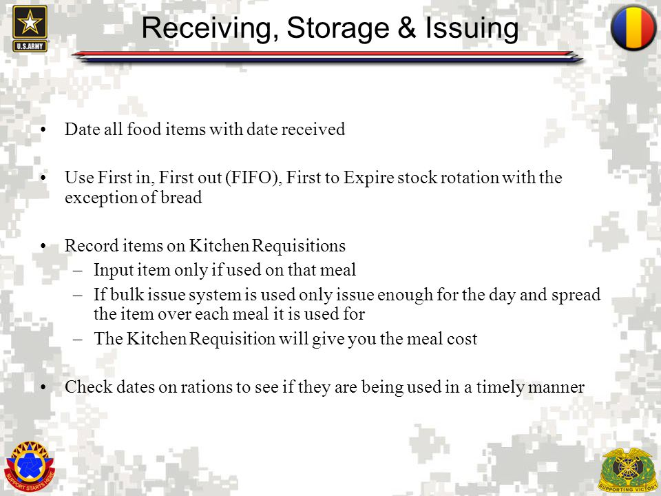 Receiving, Storage & Issuing