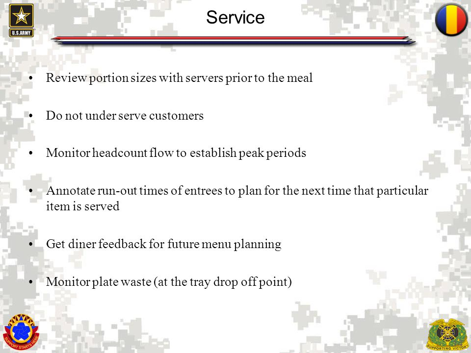 Service Review portion sizes with servers prior to the meal