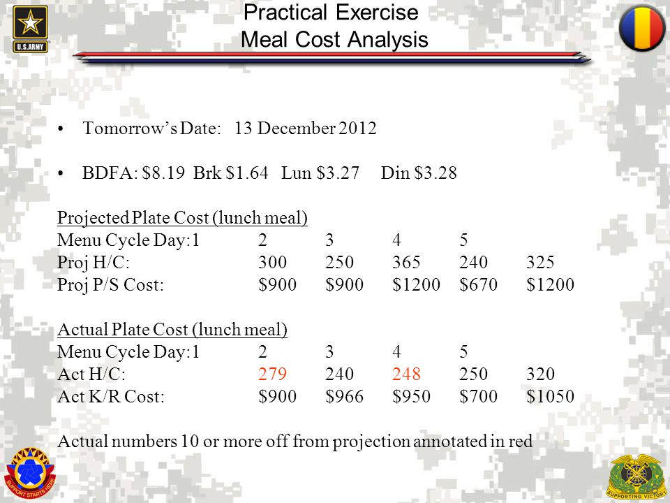 Practical Exercise Meal Cost Analysis