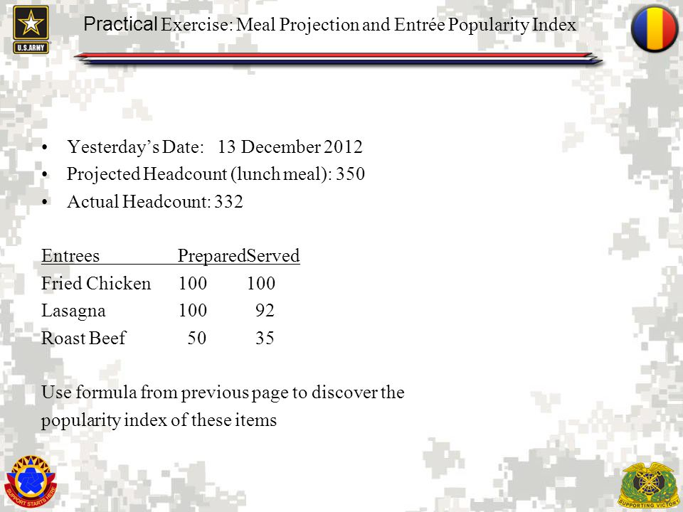 Practical Exercise: Meal Projection and Entrée Popularity Index
