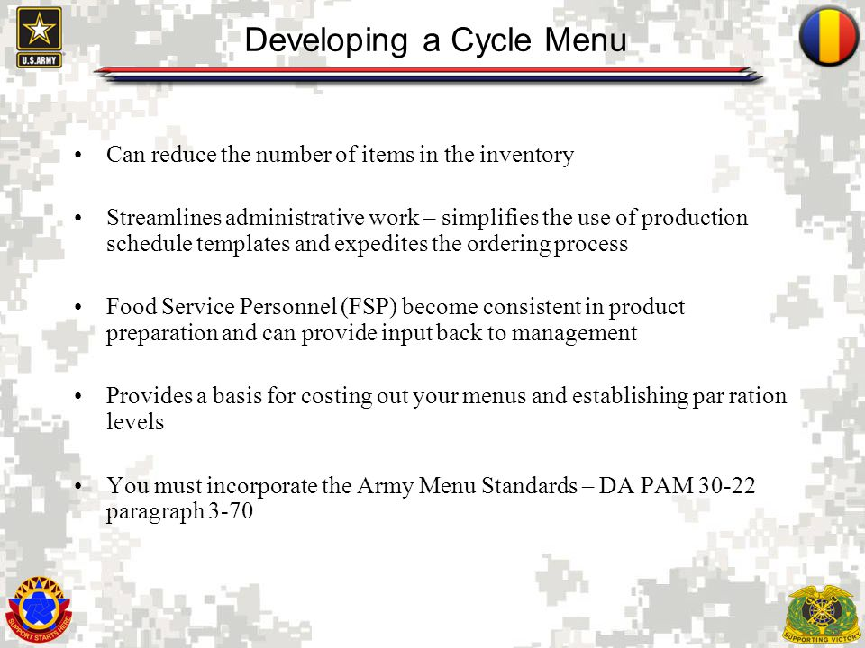 Developing a Cycle Menu