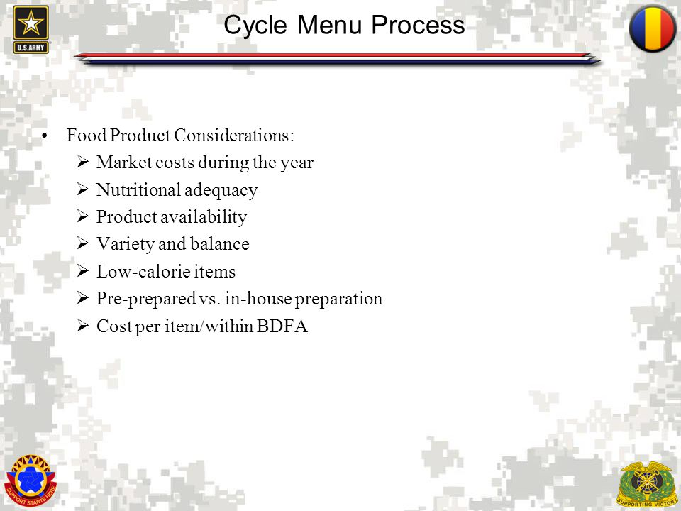 Cycle Menu Process Food Product Considerations: