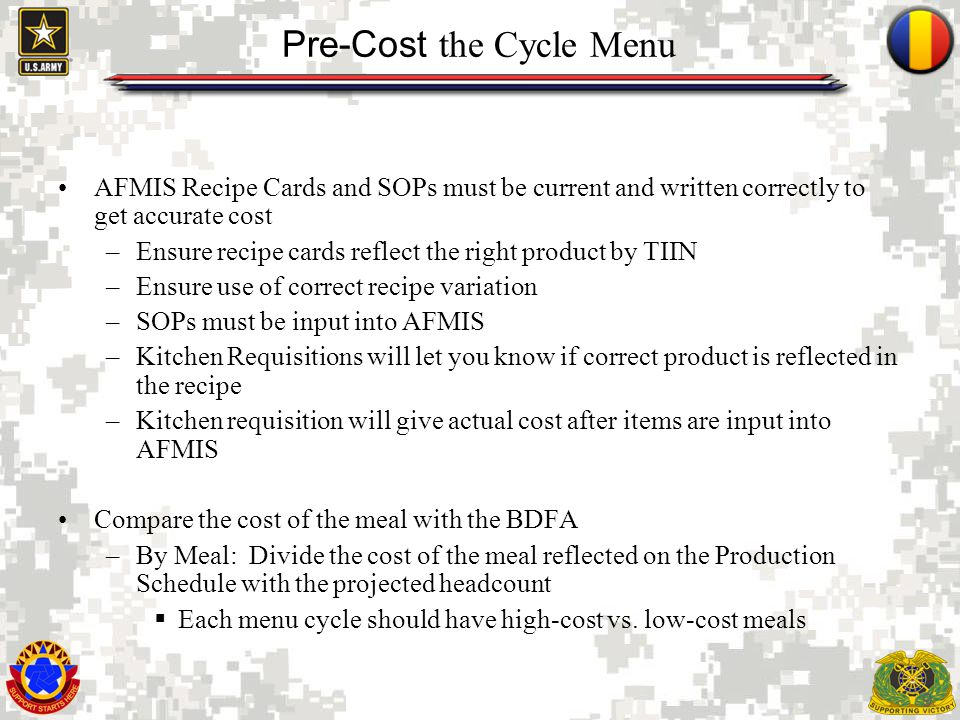 Pre-Cost the Cycle Menu