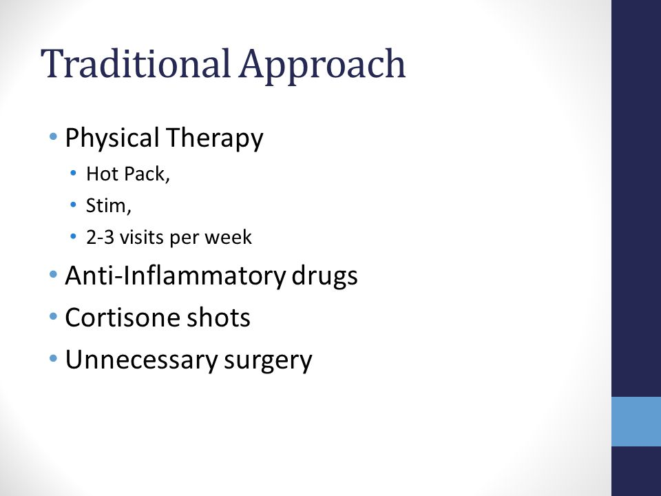 Traditional Approach Physical Therapy Anti-Inflammatory drugs