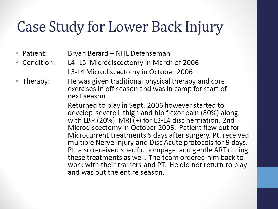 Case Study for Lower Back Injury