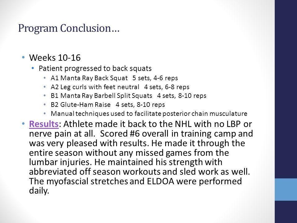 Program Conclusion… Weeks 10-16