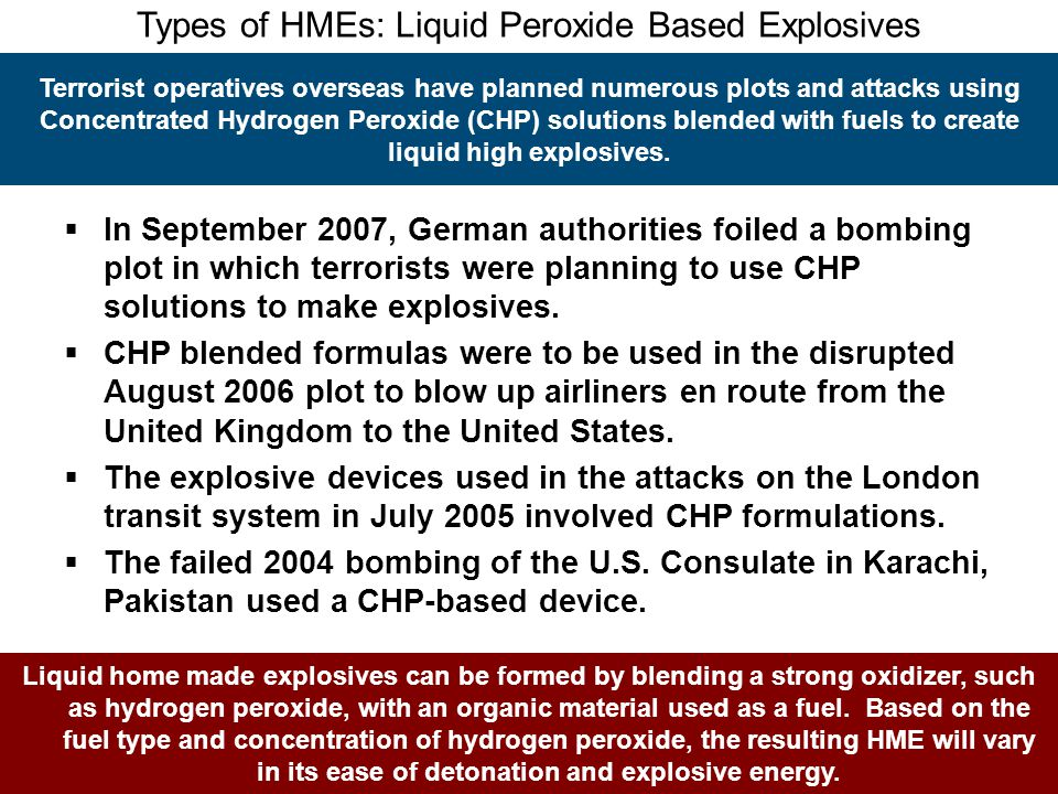 Types of HMEs: Liquid Peroxide Based Explosives