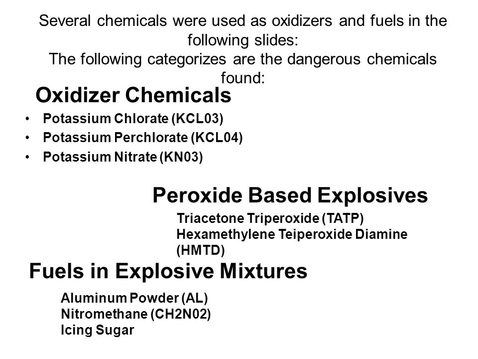 The following categorizes are the dangerous chemicals found: