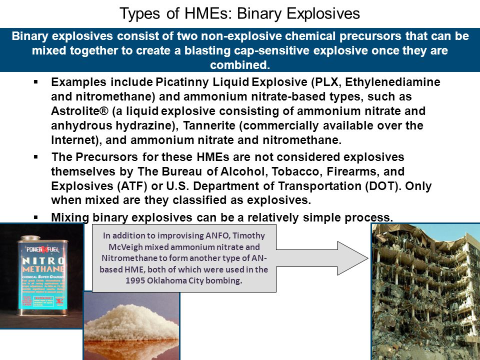 Types of HMEs: Binary Explosives
