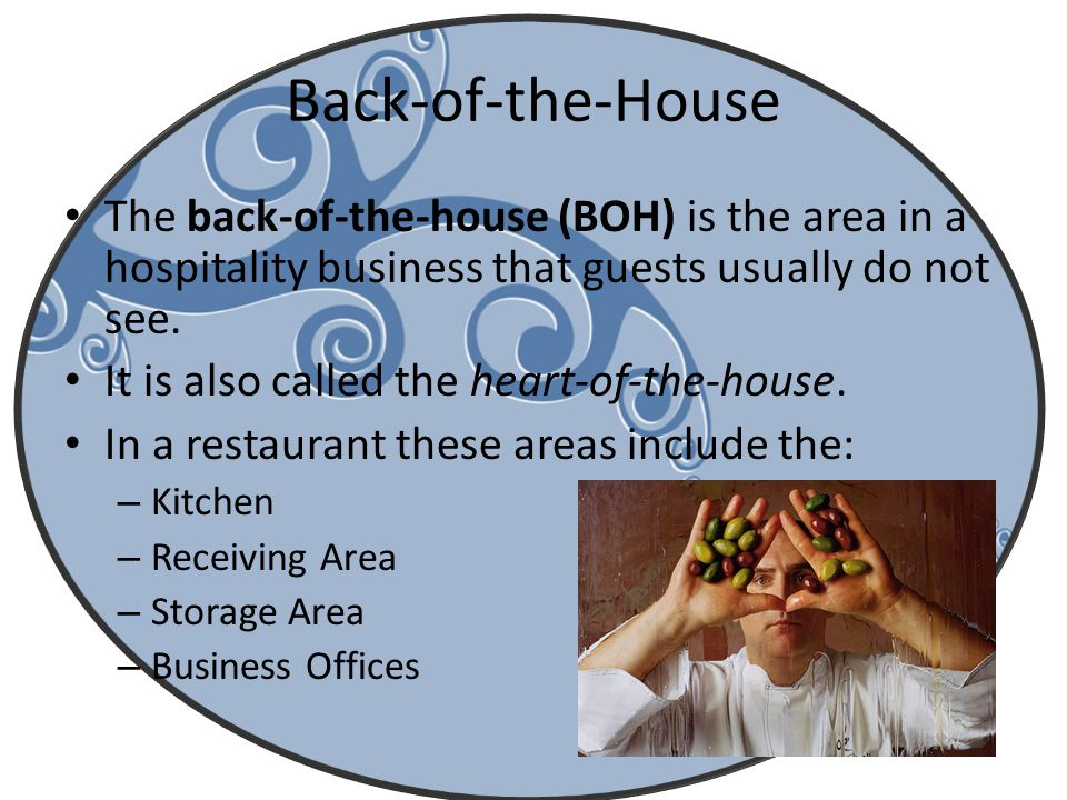 Back-of-the-House The back-of-the-house (BOH) is the area in a hospitality business that guests usually do not see.