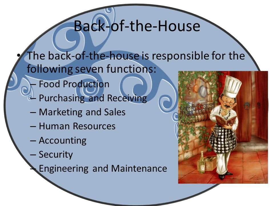 Back-of-the-House The back-of-the-house is responsible for the following seven functions: Food Production.