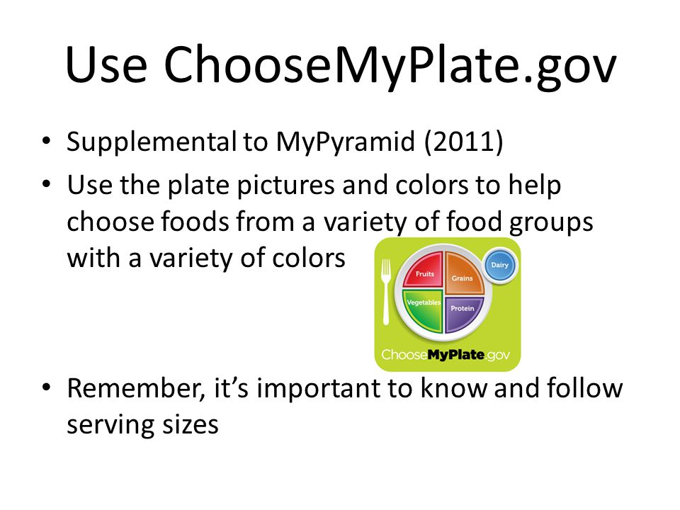 Use ChooseMyPlate.gov Supplemental to MyPyramid (2011)