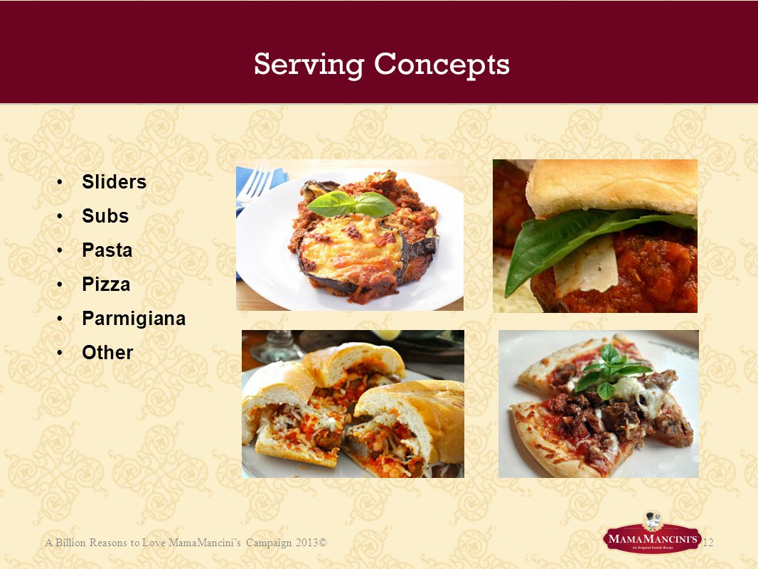 Serving Concepts Sliders Subs Pasta Pizza Parmigiana Other Add photos