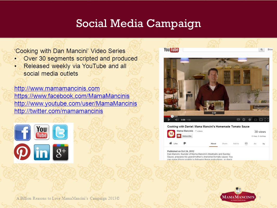Social Media Campaign 'Cooking with Dan Mancini' Video Series