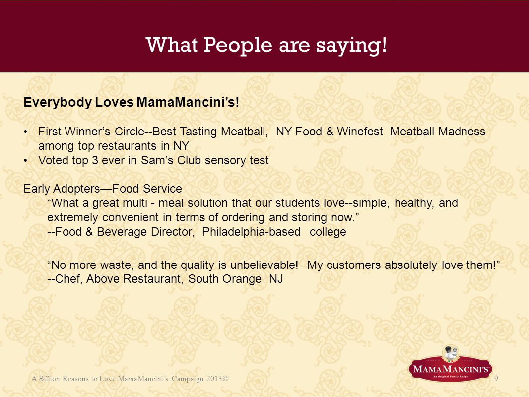 What People are saying! Everybody Loves MamaMancini's!