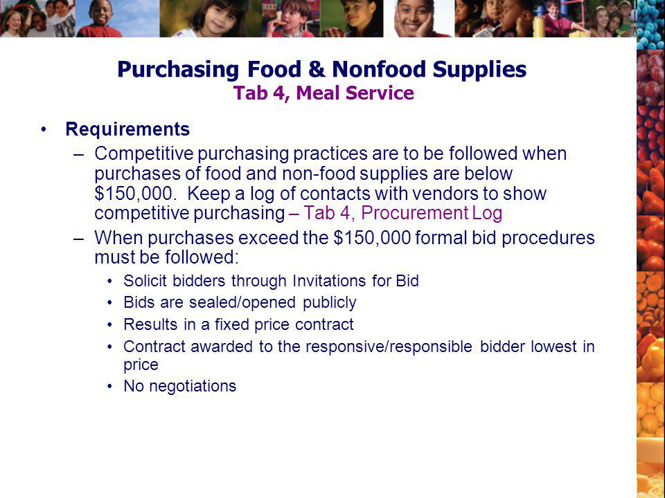 Purchasing Food & Nonfood Supplies Tab 4, Meal Service