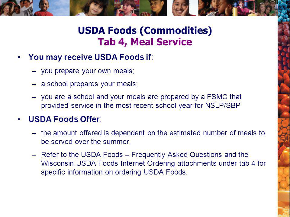 USDA Foods (Commodities) Tab 4, Meal Service