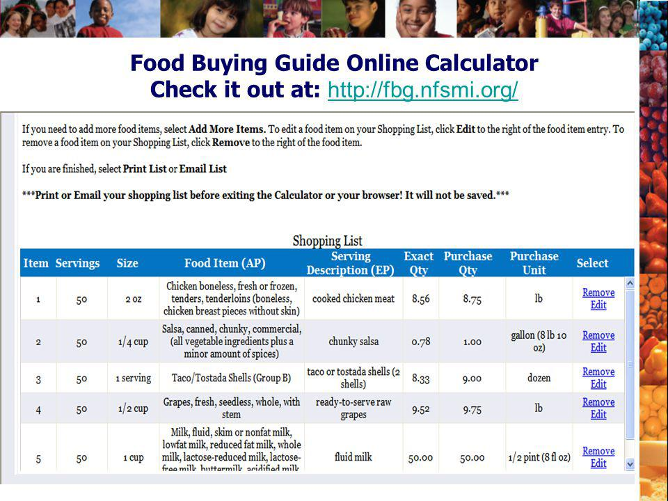 Food Buying Guide Online Calculator Check it out at: http://fbg. nfsmi