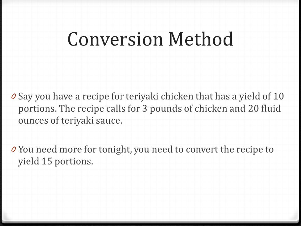 Conversion Method